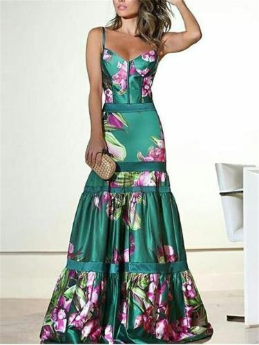 Pretty Spaghetti Strap Fitted Waist Pleated Maxi Dress for Prom
