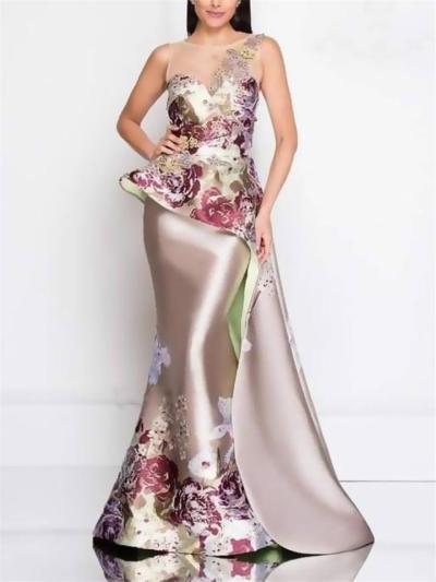 Pretty Floral Printed Illusion Neck Asymmetric Design Dress for Prom