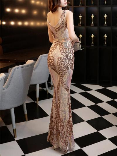 Stunning Sequined V Neck Fitted Waist Dress for Evening