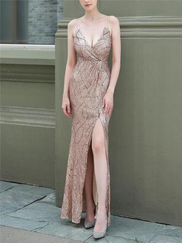 Glittering Sequined Wrap V Neckline Dress for Evening Party