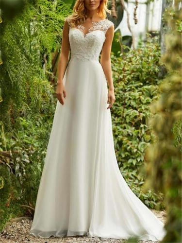 Gorgeous White Applique Sweetheart Neck Sweep Train Dress for Wedding