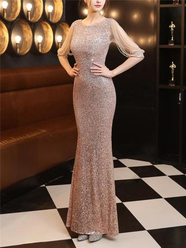 Shiny Sequined Round Neck Fitted Waist Maxi Dress for Formal Party