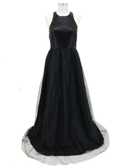 Gorgeous Halter Neck Fitted Waist Backless A-Lined Dress for Prom