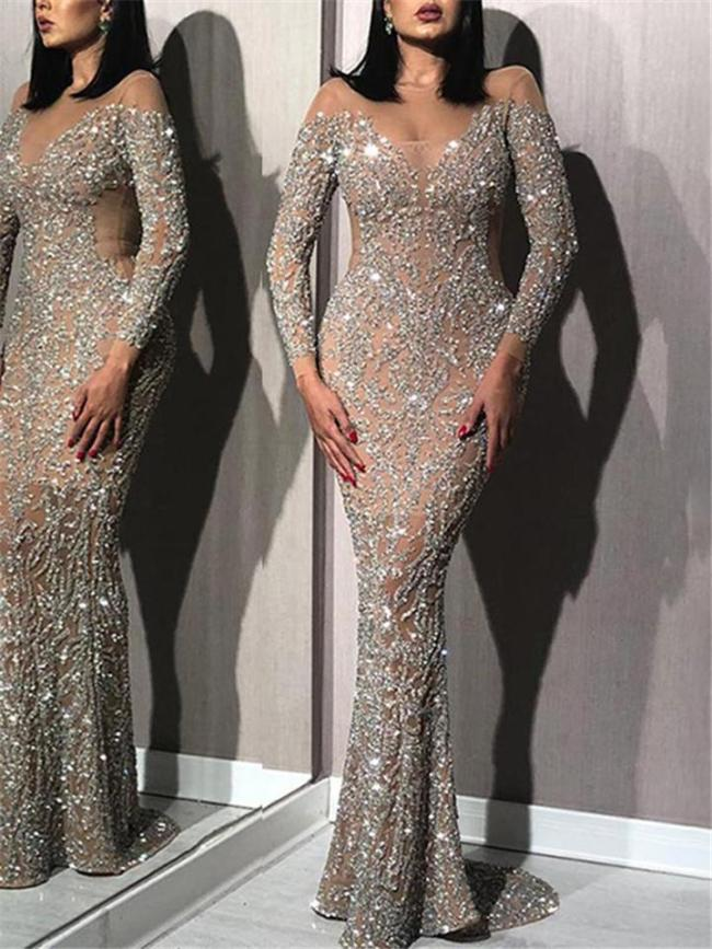 Shimmering Round Neck Bronzing Long Sleeve Mermaid Dress for Prom