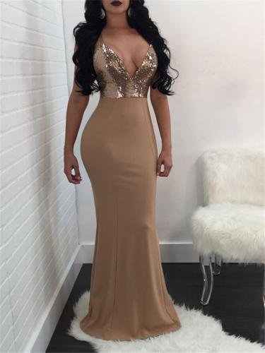 Sexy Pretty Low V Neck Sequined Mermaid Dress for Prom