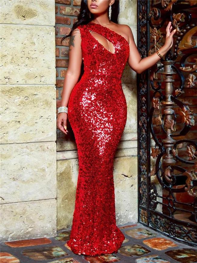 Shimmery One Shoulder Sequined Mermaid Dress for Party