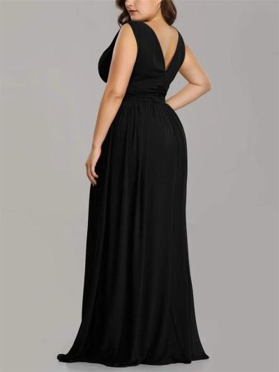 Pretty Sleeveless V-Neck Fitted Waist Chiffon Dress for Evening Party