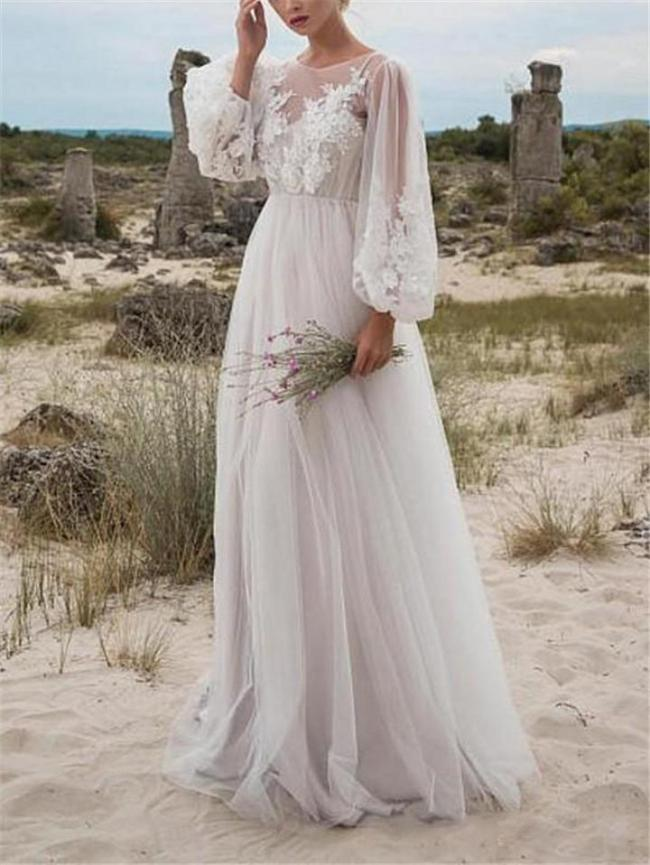 Flowing Floral Applique Illusion Neck Tulle Dress for Wedding