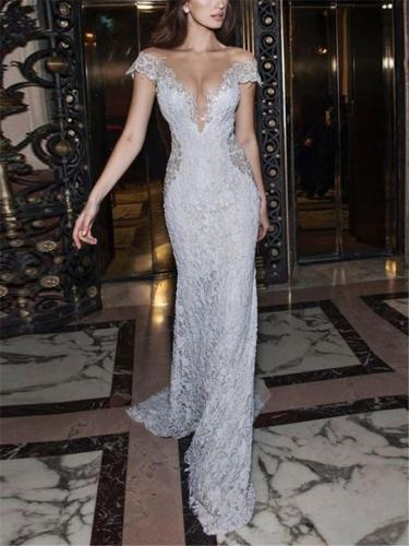 Stunning V Neck Fitted Waist Sweep Train Lace Dress for Evening