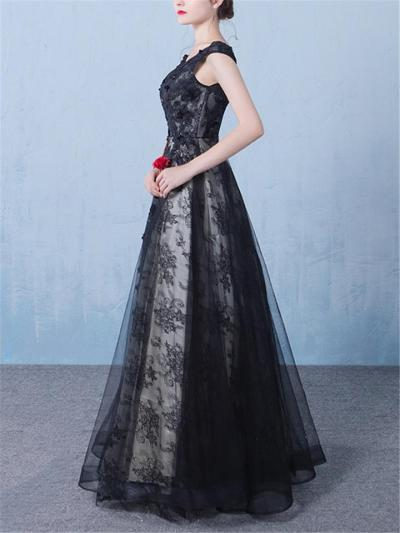 Elegant Black Fitted Waist Applique Tulle Maxi Dress for Prom