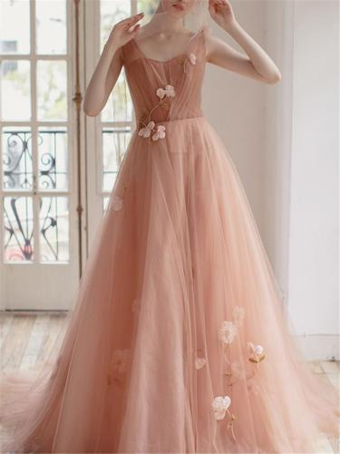 Flattering Floral Fairy Applique Sweep Train Tulle Dress for Prom