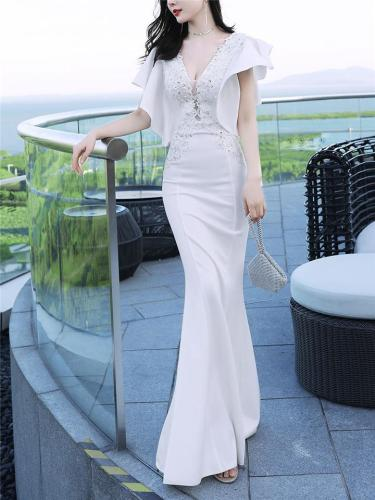 Gorgeous V Neck Applique Ruffle Sleeve Dress for Evening Party