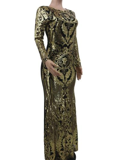 Grandeur Shiny Sequined Slim Fit Maxi Dress for Evening Party