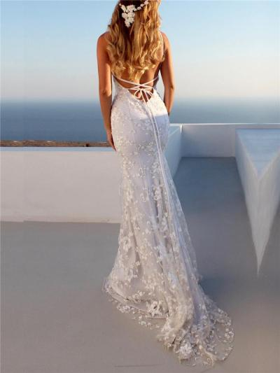 Sexy V Neck Applique Backless Maxi Dress for Wedding