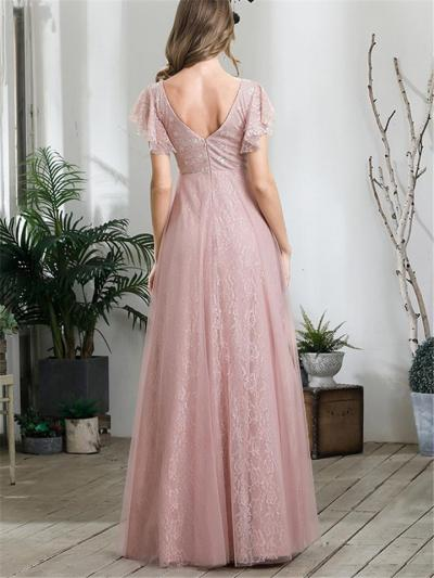 Gorgeous V Neck Backless Empire Waist Lace Maxi Dress for Wedding
