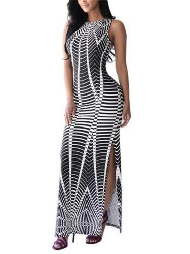 Stunning Sleeveless Striped Side Slit Trumpet Dress for Prom