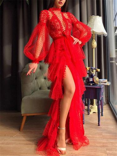 Sexy Pretty Thigh High Slit Fitted Waist Mesh Layered Dress for Prom