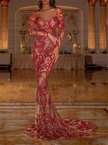 Exquisite Sequined Tube Top Lace Long Sleeve Dress for Prom