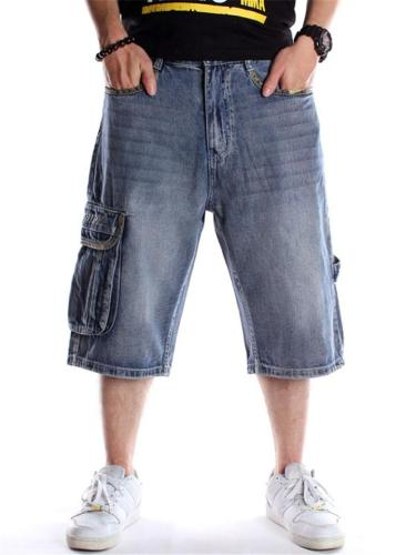 Loose Hip Hop Straight Cropped Denim Pants With Pocket