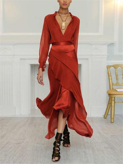 Gorgeous Fitted Waist V Neck Ruffle Design Long Dress for Evening