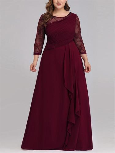 Pretty Scoop Neck 3/4 Sleeve Chiffon Free-Flowing Gown Dress for Evening