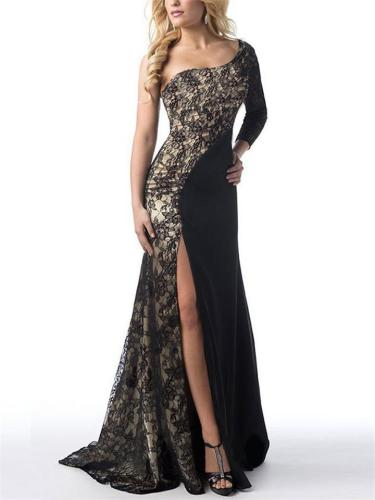Elegant One Shoulder Thigh High Slit Lace Dress for Prom