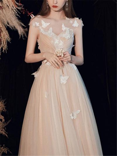 Flattering Illusion Neck Applique Fitted Waist Tulle Dress for Party