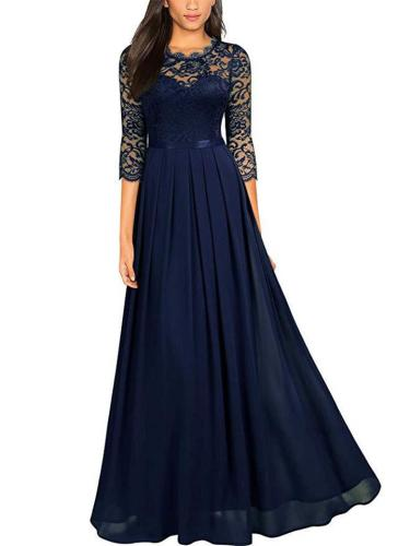 Gorgeous Floral Lace Bodice Fitted Waist Pleated Dress for Prom