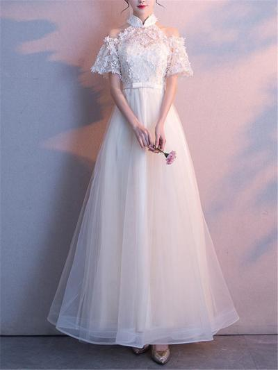 Elegant Applique Halter Neck Cut Out Detail Short Sleeve A-Line Gown Dress