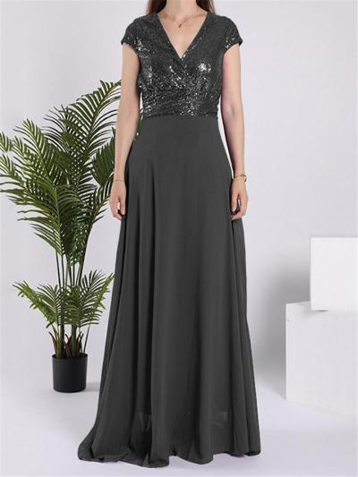 Glamorous Sequined Backless Wrap Neck Maxi Dress for Prom