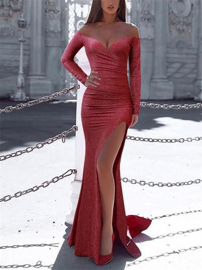 Sexy Off The Shoulder Long Sleeve Side Slit Gown Dress