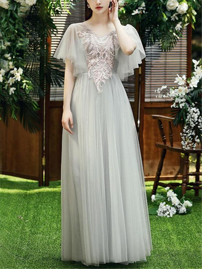 Flattering Applique Fitted Waist Bell Sleeve Tulle Gown for Evening Party