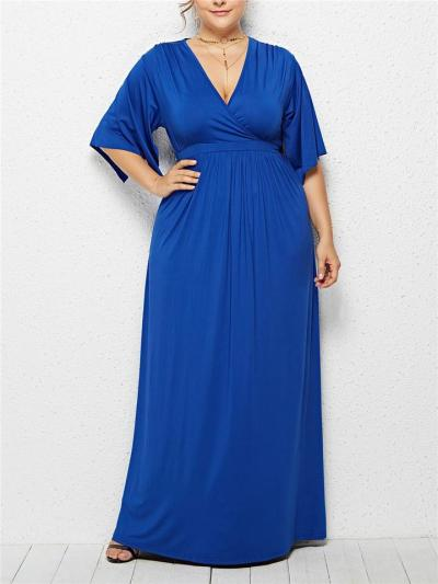 Elegant Wrap Neck Fitted Waist Ruched Maxi Dress for Formal Party
