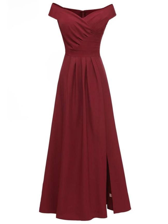 Solid Color Vintage Elegant Off Shoulder Maxi Dress