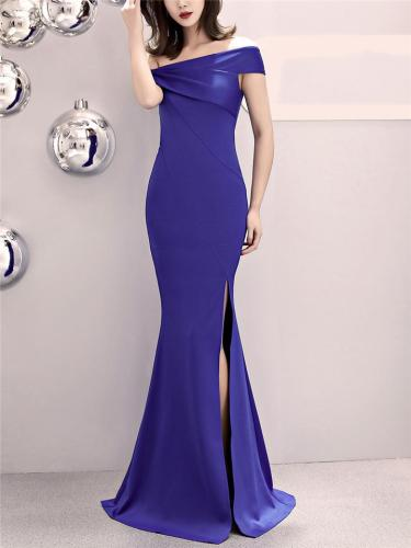 Gorgeous Off Shoulder Asymmetric Design Maxi Dress for Formal Party