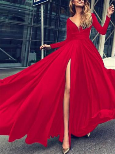 Flowing V Neck Thigh High Slit Dress for Evening Party
