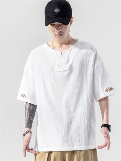 Casual Linen V Neck Loose Short Sleeve T-Shirts