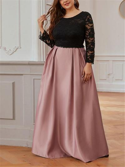 Pretty Round Neck Lace Bodice Fitted Waist Pleated Dress for Prom