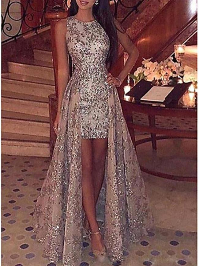 Stunning Sequined Fitted Waist High-Low Sleeveless Dress for Prom