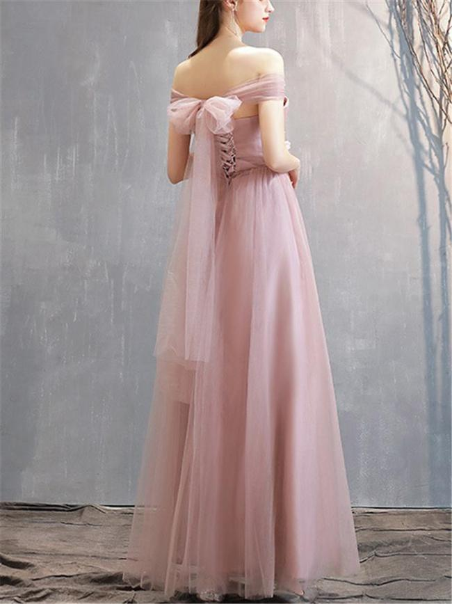 Gorgeous Off Shoulder Back Bow Mesh Gown for Evening Party