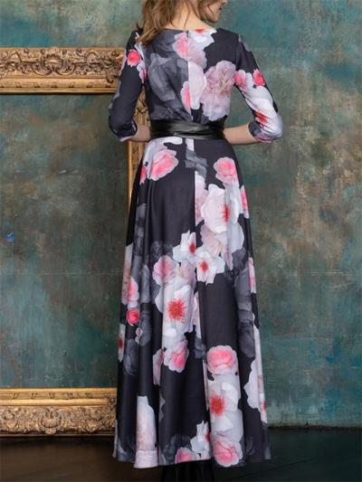 Elegant Fitted Waist Round Neck Half Sleeve Floral Printed Dress for Prom