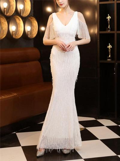 Gorgeous Fringe Beaded Cutout Shoulder Dress for Formal Party