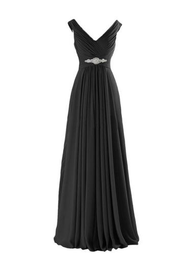 Pretty Fitted Waist Wrap Neck Chiffon Maxi Dress for Evening Party