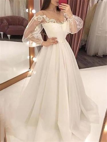 Flattering Off Shoulder Fitted Waist Balloon Sleeve Maxi Dress for Wedding