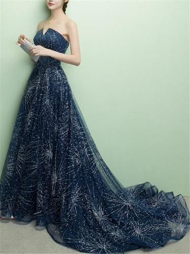 Exquisite Strapless Court Train Gown Dress for Evening