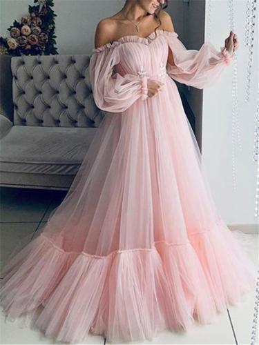 Flowing Off Shoulder Long Balloon Shoulder Tulle Dress for Wedding