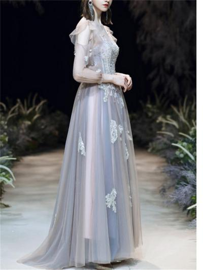 Flattering Applique Long Sleeve Backless Tulle Dress for Prom