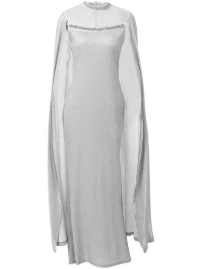 Elegant Round Neck Beaded Mermaid Cape Dress for Party