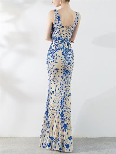 Shimmering V Neck Sequined Mermaid Maxi Dress for Formal Party