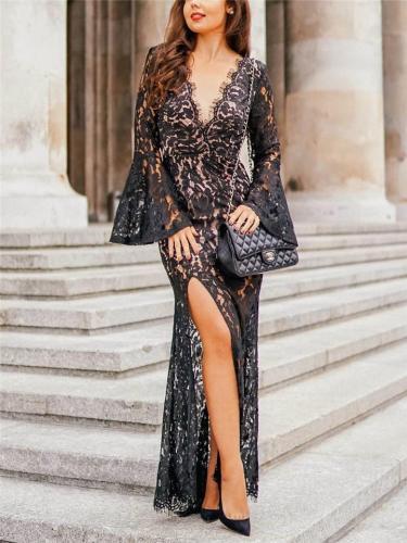 Flattering V Neck Bell Sleeve Backless Side Slit Dress for Evening Party